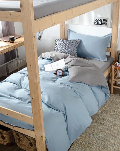 全棉简约时尚双拼素色学生宿舍床单三件套纯棉床上套件