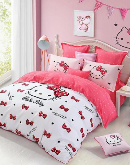 全棉kt四件套卡通儿童学生床单被套纯棉床上用品套件