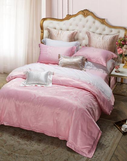提花四件套床上用品婚庆粉色少女心结婚新婚套件 花漾爱丽舍