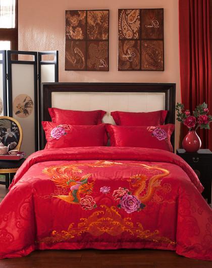 传统中国风刺绣被套床单婚庆六件套新婚床上用品双人 琴瑟和鸣