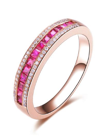 【春季特卖】玫瑰18K金红宝石戒指/彩宝/宝石戒指