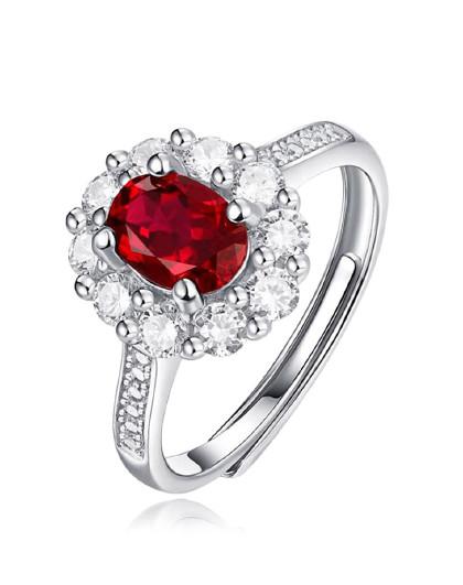 春上新 1克拉银镶红宝石戒指带证书女戒合成彩宝耳钉红宝石项链