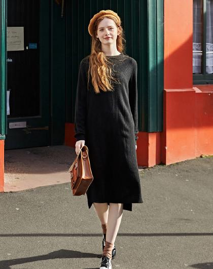 森马 冬季新款时尚简约纯色过膝打底毛衣裙女学生套头针织连衣裙女