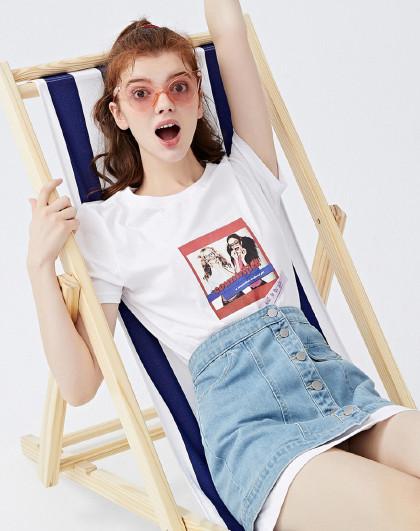森马 夏季新款两件套短袖T恤半身牛仔短裙舒适纯棉潮流套装女
