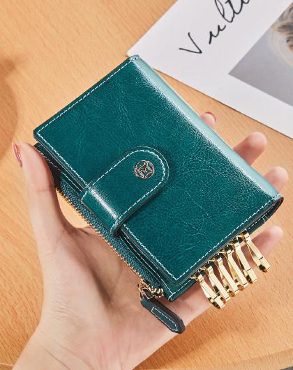 【热销爆款】时尚牛皮短款钱包女式零钱包钱夹卡包女士钱包女