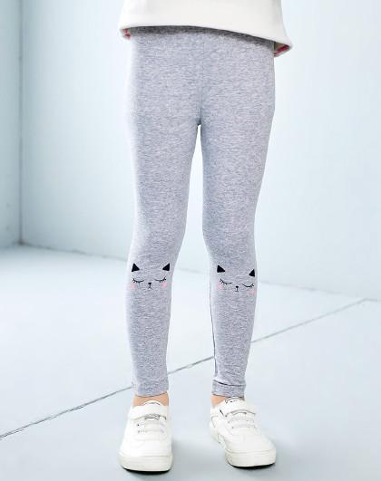 南极人 春秋薄款女童装3-10岁女童打底裤女童长裤可爱印花糖果色