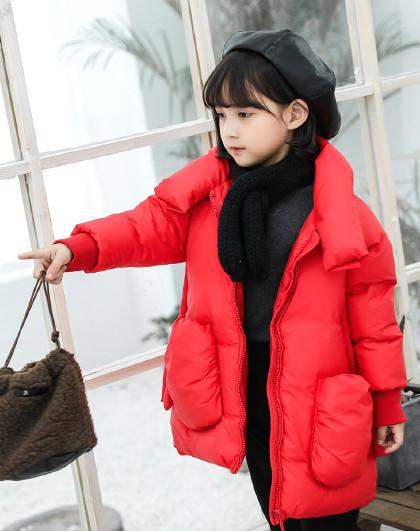 南极人 儿童羽绒服2019新款女童中长款时尚保暖羽绒服