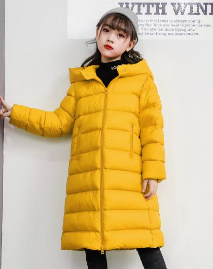 南极人 儿童羽绒服【90%白鸭绒】2019新款女童长款时尚羽绒服连帽