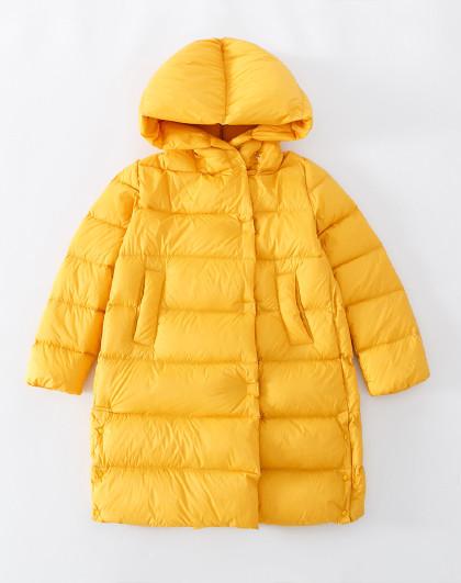 南极人 儿童羽绒服2019新款女童中长羽绒服休闲保暖连帽外套