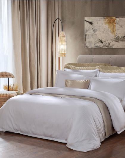 圣之花床上套件简约欧式素色缎纹提花被套床单床上用品六件套