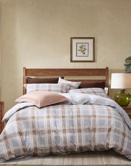 圣之花简约中性斜纹工艺纯棉被套床上用品全棉套件四件套