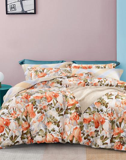 圣之花床上纯棉印花磨毛被套床单床上用品全棉套件四件套