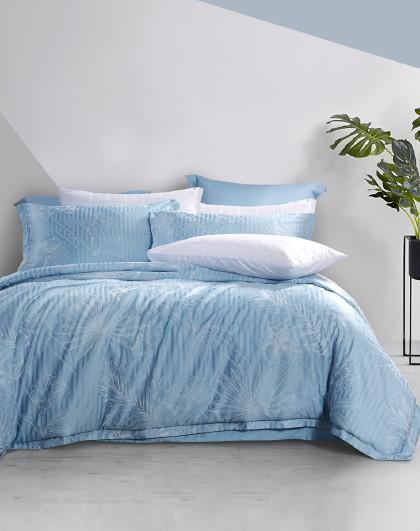 圣之花轻奢高端素色大提花被套床单床上用品套件四件套