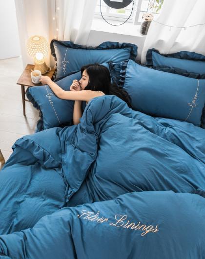网红款水洗刺绣花边公主风床单被套枕套床上用品四件套