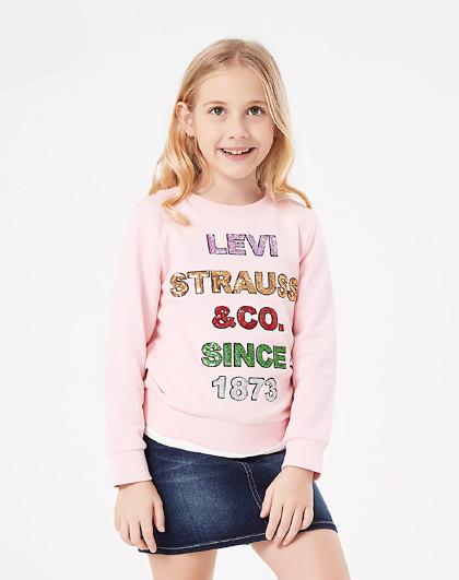 李维斯中大童装秋女童卫衣儿童套头卫衣运动卫衣