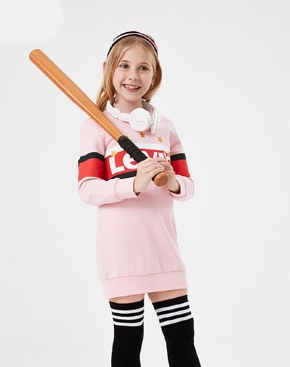 李维斯中大童装秋女童卫衣儿童拼接套头卫衣运动卫衣