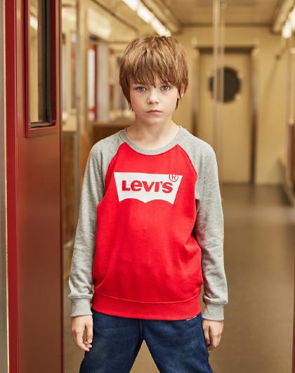 LEVI'S 【经典款】男童春新年红拜年服百搭卫衣李维斯童装儿童休闲卫衣