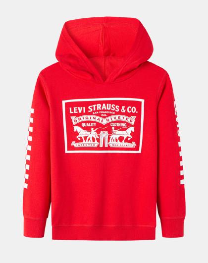 男童春新年红卫衣李维斯中大童装儿童卫衣休闲运动卫衣