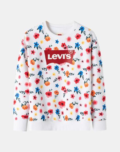 李维斯童装秋季女童套头卫衣儿童复古印花卫衣百搭款