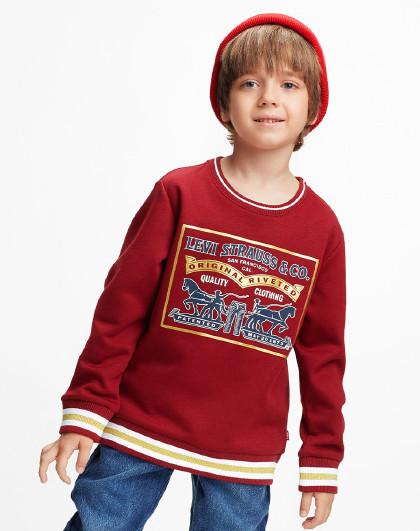男童春秋新年红加绒卫衣李维斯中大童装儿童保暖套头卫衣拜年服