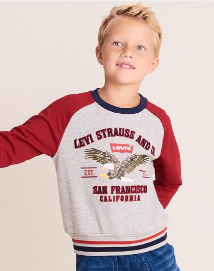 男童春拼色套头卫衣李维斯童装百搭个性儿童休闲卫衣