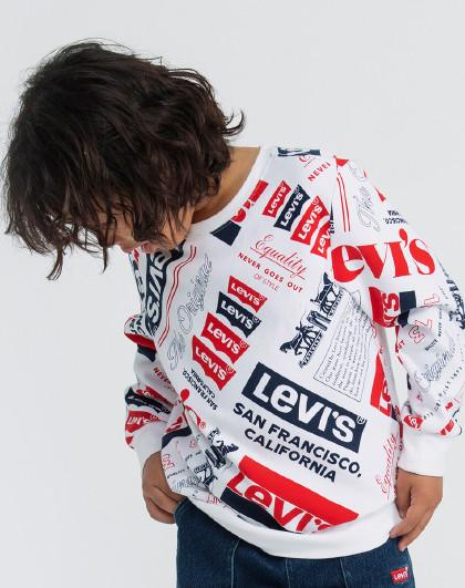男童套头个性满印卫衣21春新品李维斯童装儿童休闲卫衣
