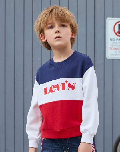 男女童春新款三色拼接卫衣李维斯童装儿童百搭休闲卫衣中性童装