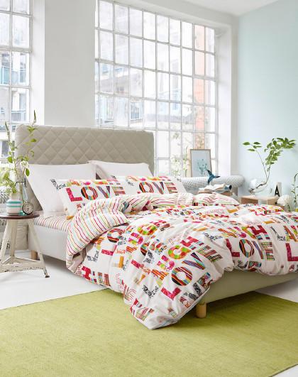 周年纪念款100%全棉字母四件套纯棉床单被套枕套床上套件