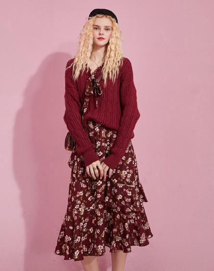 妖精的口袋 2020秋新女式套装系领宽松针织衫碎花百褶休闲雪纺裙