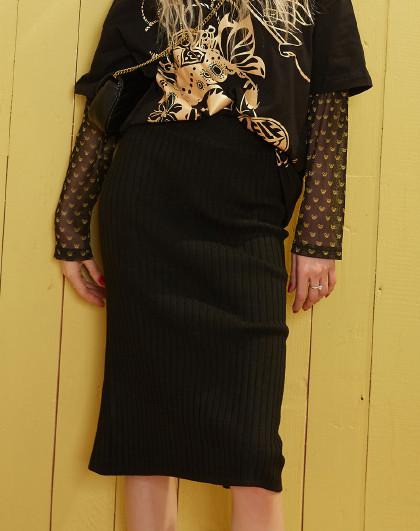 妖精的口袋 2020秋季新款修身包臀开叉半身裙百搭纯色淑女系休闲直筒裙