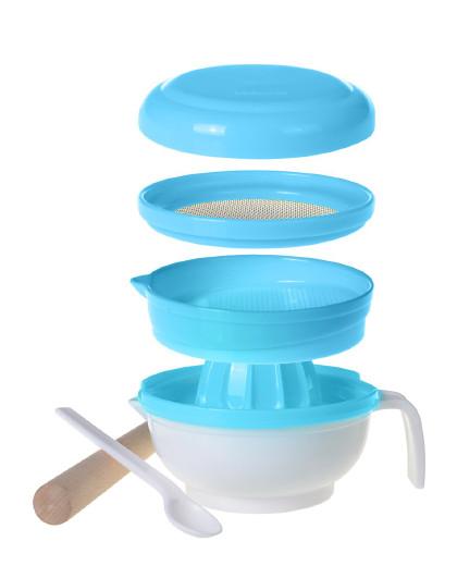 亲亲我 多功能研磨器(蓝色)婴儿辅食研磨碗多功能手动果泥料理机工具