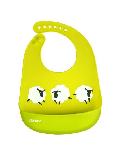 亲亲我 【2件起售】硅胶饭兜大号(绿色)  婴儿围嘴宝宝吃饭围兜儿童防水饭兜新生儿口水巾