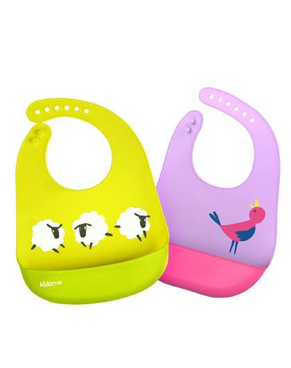 亲亲我 立体硅胶围兜组合 婴儿围嘴宝宝吃饭围兜儿童防水饭兜新生儿口水巾