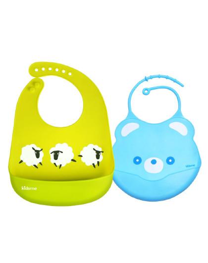亲亲我 硅胶围兜组合 婴儿围嘴宝宝吃饭围兜儿童防水饭兜新生儿口水巾