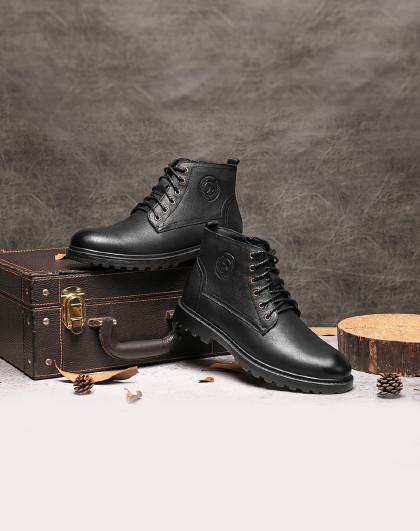 红蜻蜓 秋冬新款高帮皮鞋男加绒棉鞋户外休闲工装潮靴短靴男