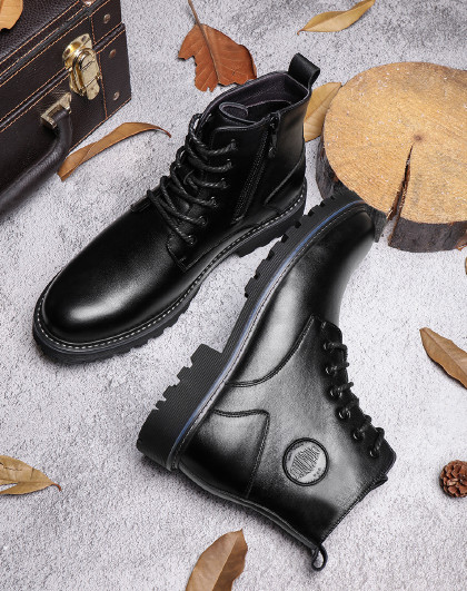 红蜻蜓 秋冬新款马丁靴加绒保暖高帮棉鞋男时尚工装靴皮靴