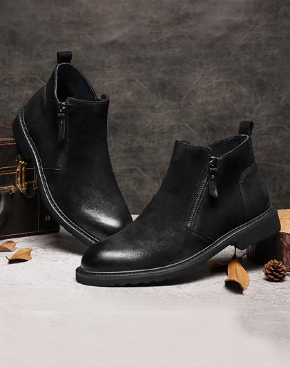 红蜻蜓 秋冬新款休闲高帮皮鞋时尚英伦中帮短靴子百搭潮靴