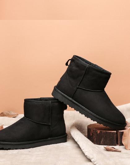 红蜻蜓 冬季新款男靴韩版时尚长毛绒棉鞋短筒靴子雪地靴