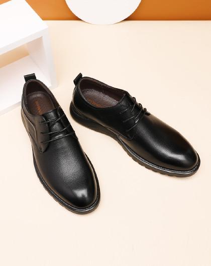 红蜻蜓 男鞋加绒牛皮商务休闲皮鞋男圆头系带真皮男棉鞋