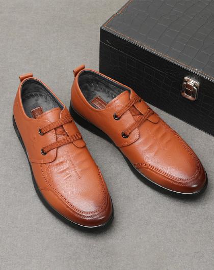 红蜻蜓 冬季棉鞋男新款皮鞋时尚休闲系带男鞋加绒保暖百搭皮鞋