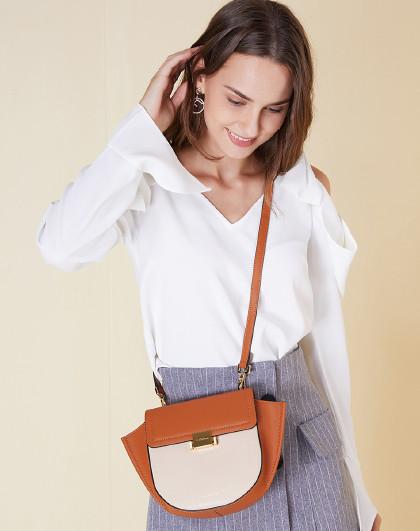 闺蜜礼物万里马女包女士时尚简约休闲撞色包包单肩包马鞍包斜挎包