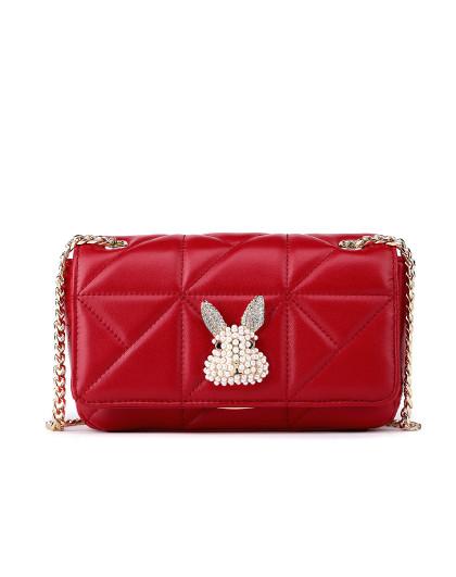 【热卖爆款】时尚兔子钻饰小方包羊皮包单肩斜挎链条包闺蜜包