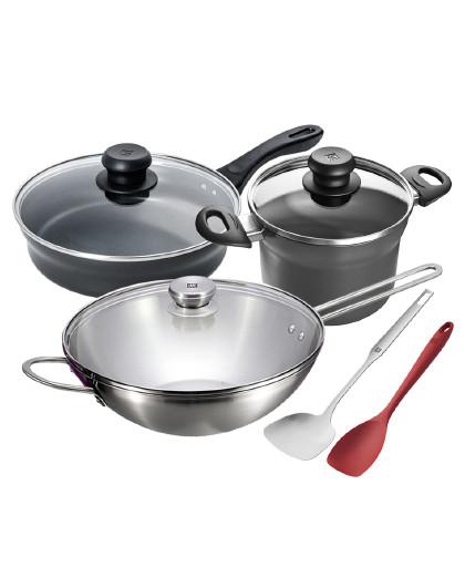 ZWILLING 双立人5件套厨房家用硅胶锅铲汤锅炖锅煎锅炒锅