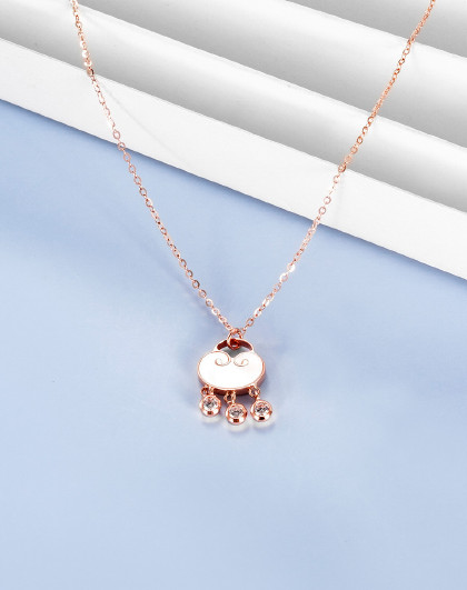 18K金项链如意时尚K金项链玫瑰金项链时尚生日礼物