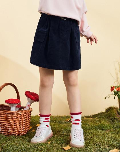 太平鸟童装女童夏季洋气森系灯芯绒短裙儿童裙子