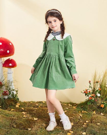 太平鸟童装女童春秋季复古森系灯芯绒连衣裙儿童裙子