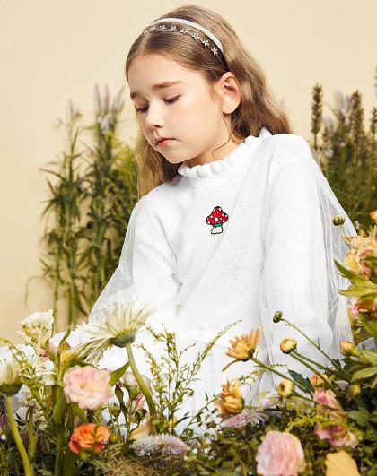 太平鸟童装女童夏季超仙双色小蘑菇网纱公主裙儿童连衣裙