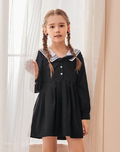太平鸟童装女童夏季网红海军领学院风亲子装公主裙连衣裙