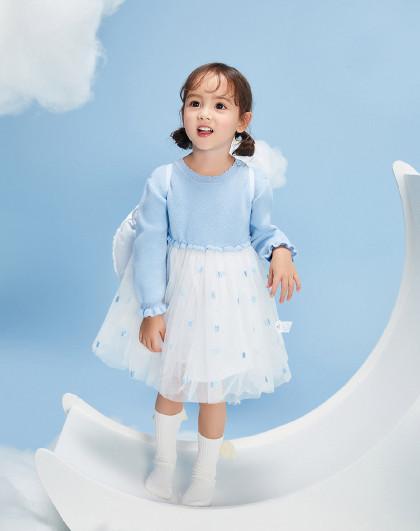 太平鸟童装女幼童夏季洋气针织网纱拼接连衣裙