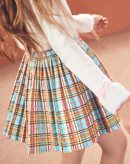 太平鸟童装女童夏潮流洋气格子JK风短裙儿童裙子